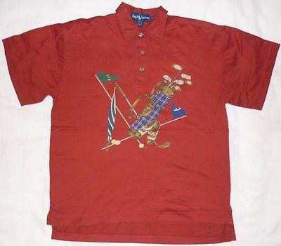 e2e313f42 Vintage Polo Ralph Lauren Golf Bag Red Shirt SM  Ski Rare Stadium Indian  head