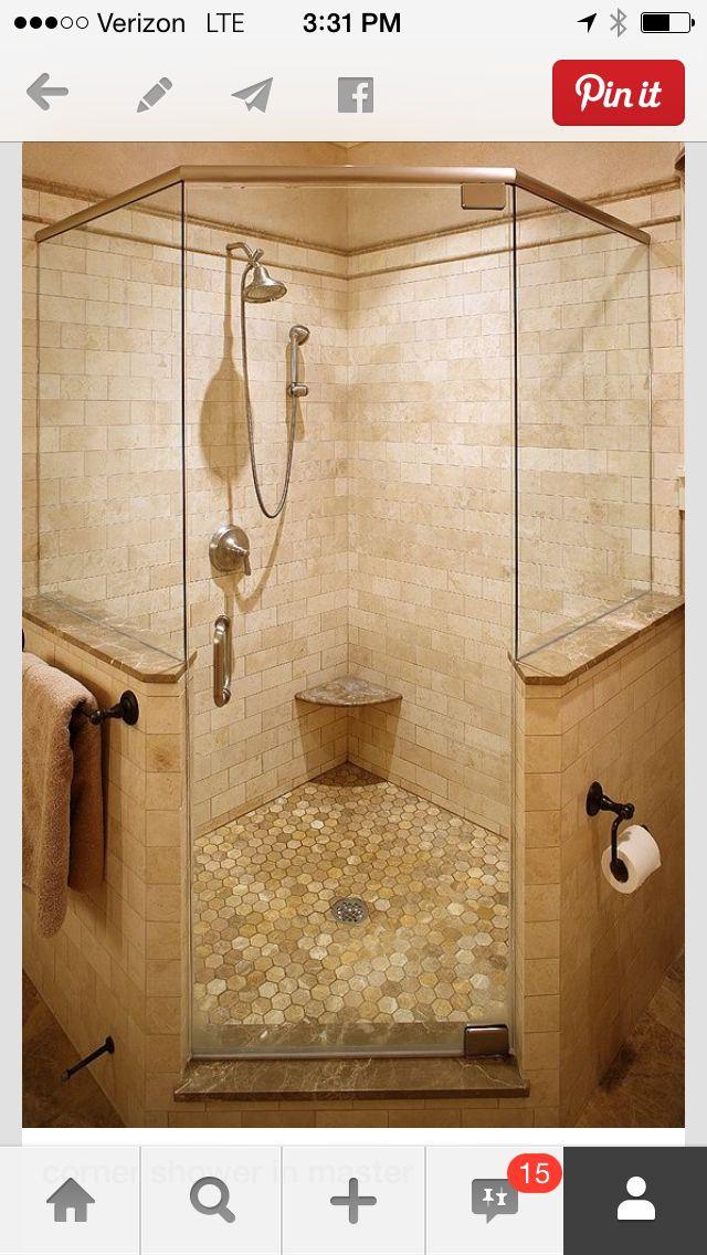 corner shower with tiled walls | Nursery Bathroom | Pinterest ...