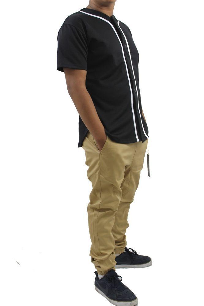 size 40 a9d7a f338c KHAKI JOGGER PANTS / baseball plain jersey top WHITE, BLACK ...