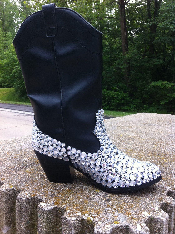 bfc711cb439 Custom Embellished Rhinestone Cowboy Boots by SixpenceShoes, $76.06 ...