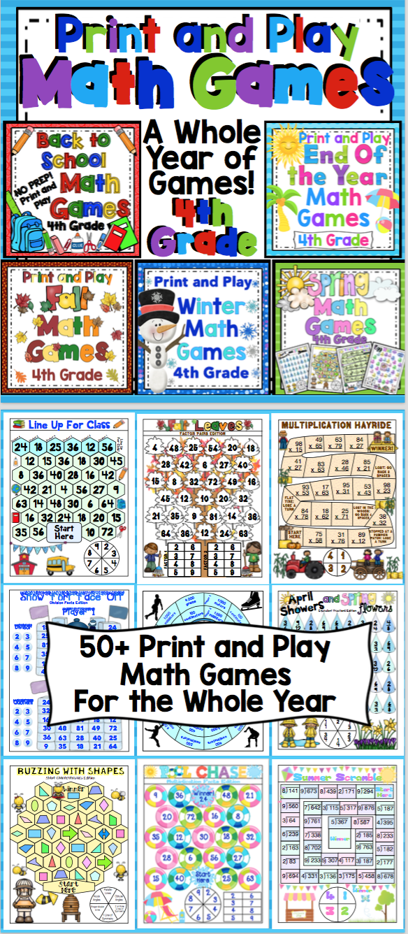 4th Grade Math Games For the Entire Year - Math Game Mega Bundle ...