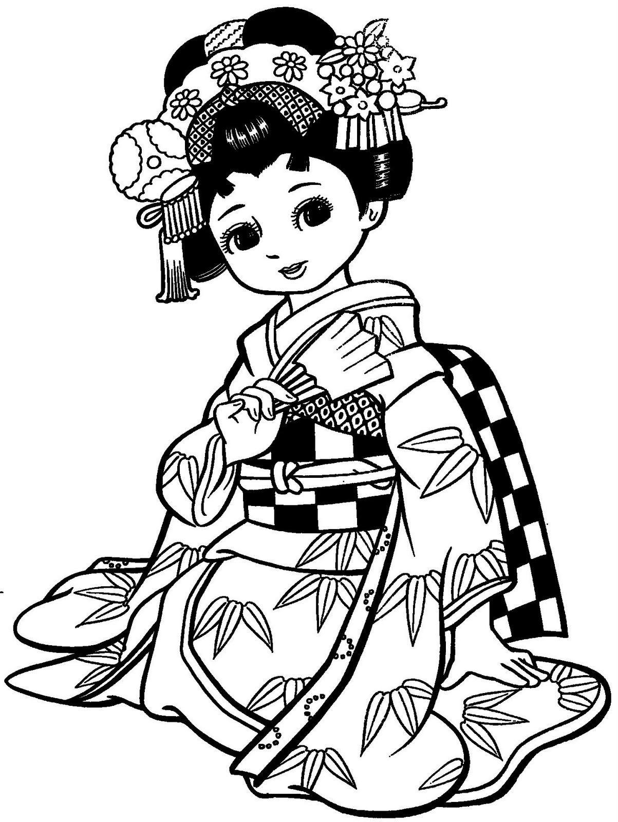 Maravilhosas meninas japonesas com kimonos para colorir | Pisos ...