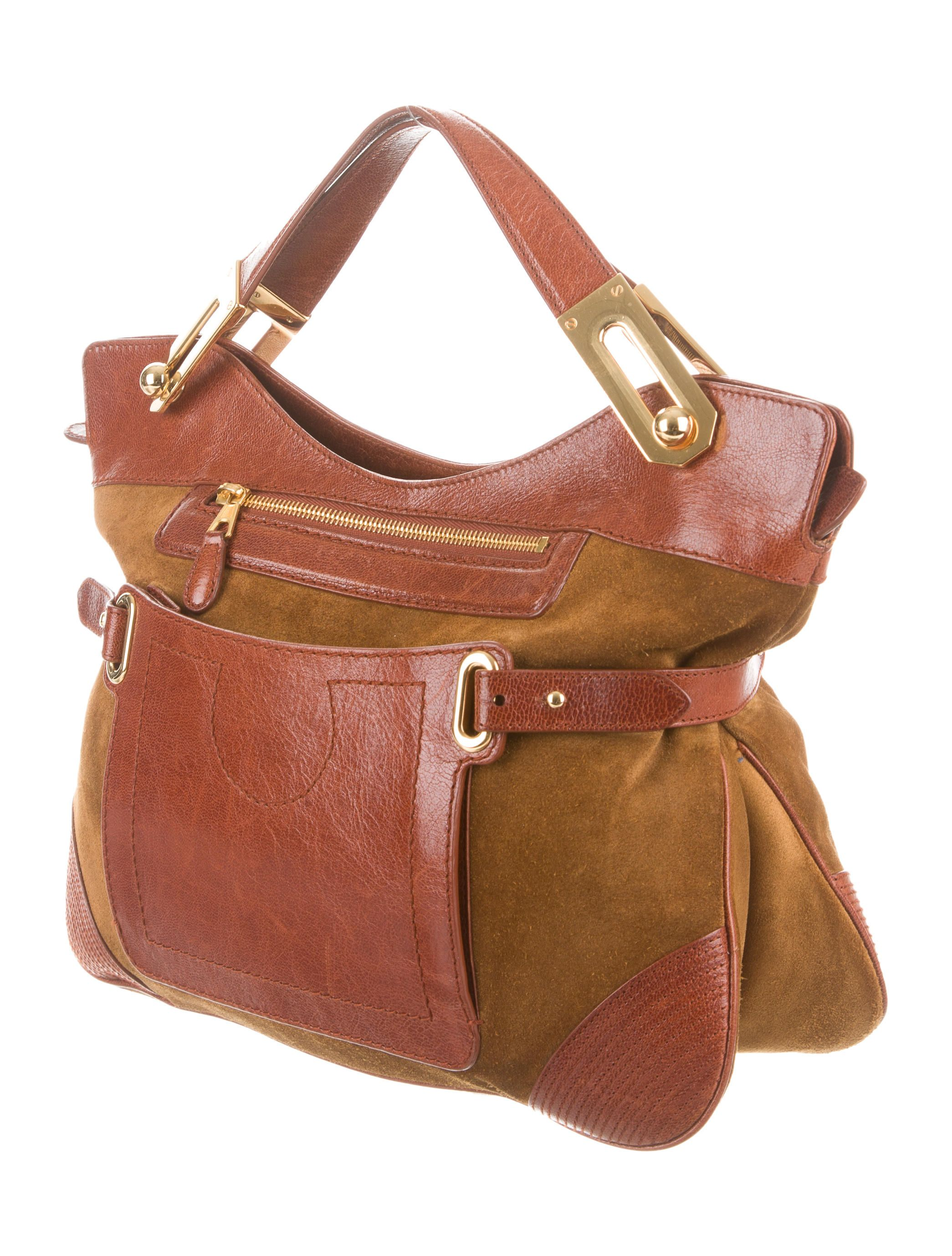 967c0fecae Olive brown suede Balenciaga handle bag with gold-tone hardware, brown  leather trim,