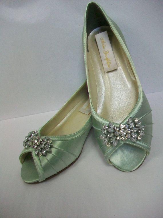 Wedge Wedding Shoes - Peep Toe Sage Green Shoes - 1 Inch ...