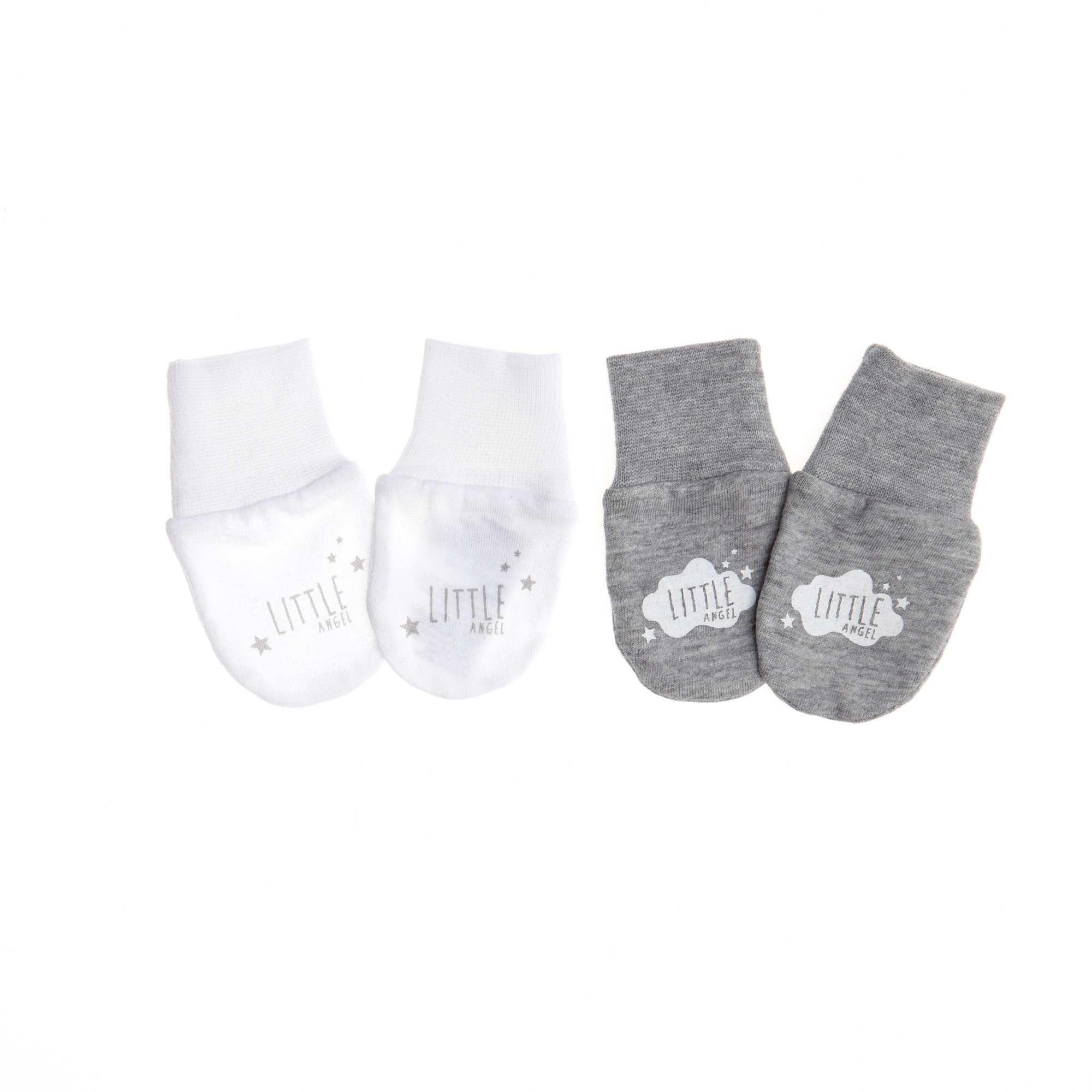 d9d5740ec8db Lot de 2 paires de moufles anti-griffures blanc gris Bébé fille ...