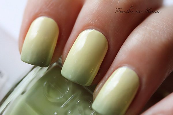 yellow + green ombre nails