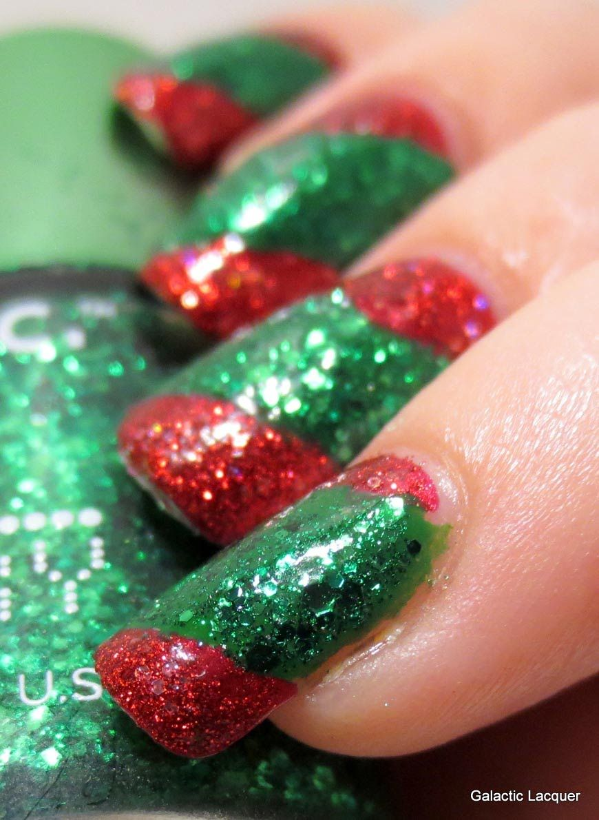 Galactic Lacquer 12 Days Of Christmas Only Red Green Nail Art