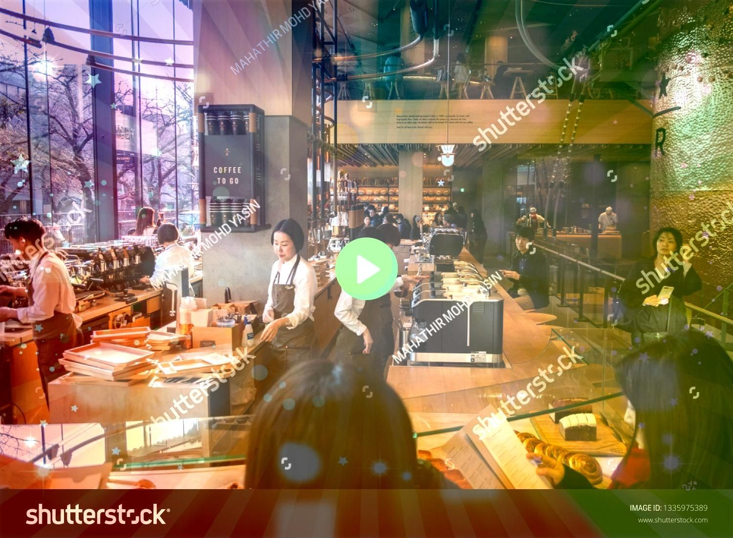 JAPAN  MARCH 9TH 2019 Customers at the busy Starbucks Reserve Roastery coffee house Wide angle view TOKYO JAPAN  MARCH 9TH 2019 Customers at the busy Starbucks Reserve Ro...
