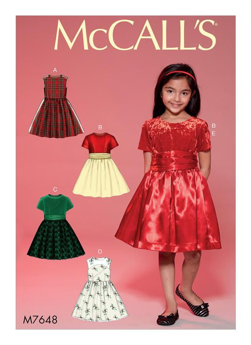 M7648 Childrens Girls Gathered Dresses With Petticoat And Sash