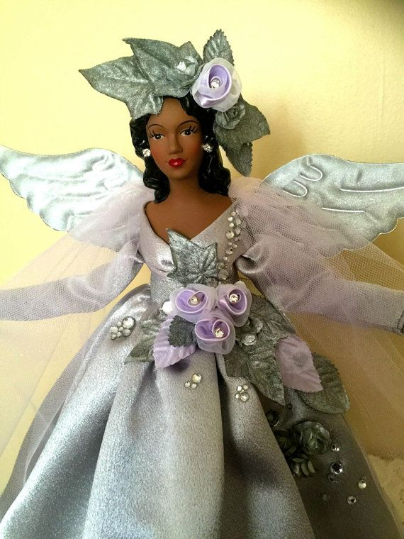 Black Angel Christmas Tree Topper.African American Christmas Angel Tree Topper Silver Lilac