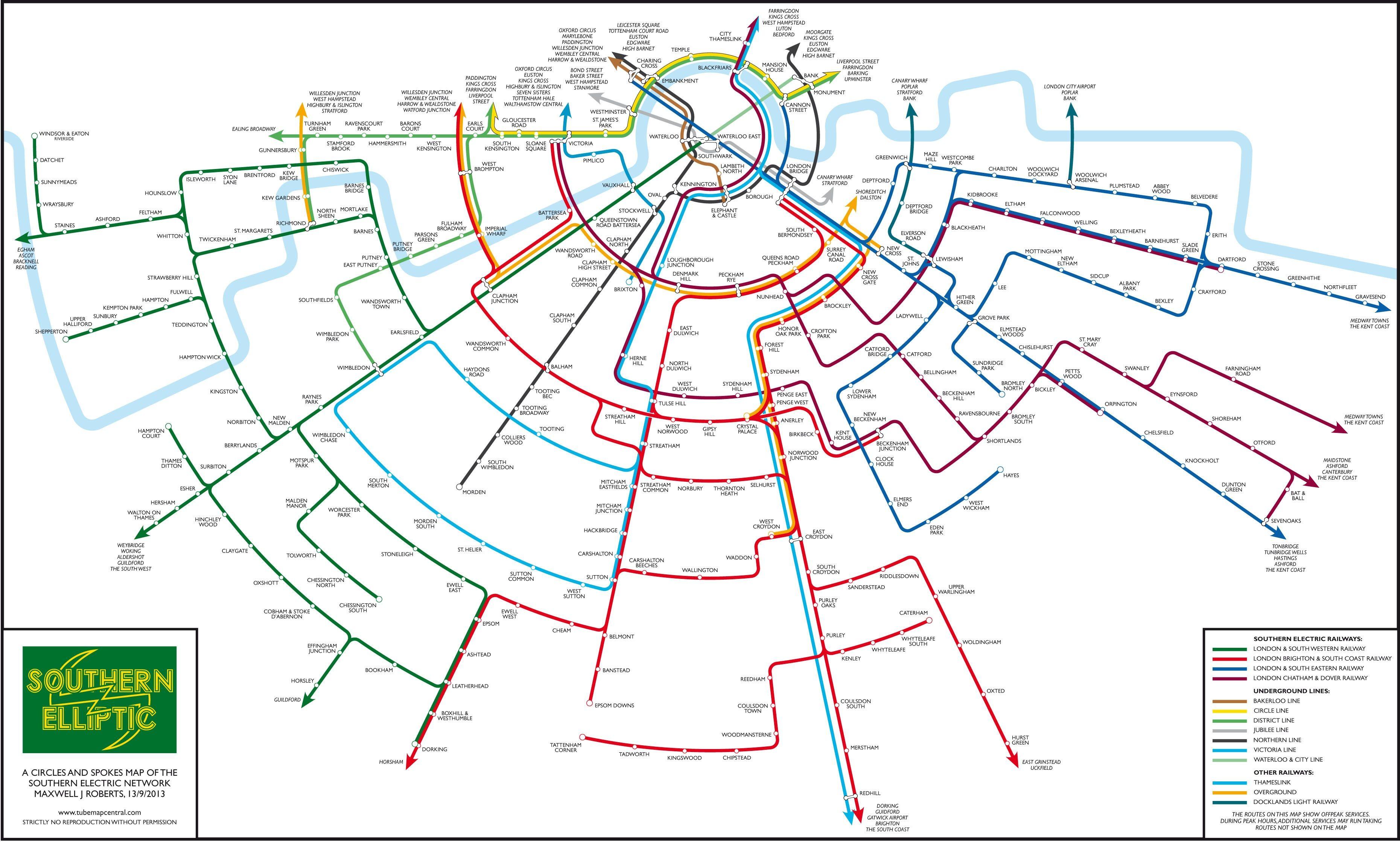 Rad map of S London trains Nice things Pinterest