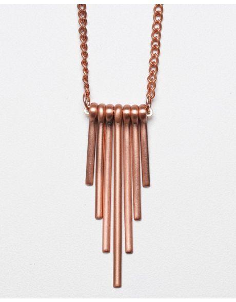 copper obelisk necklace / garnett jewelry
