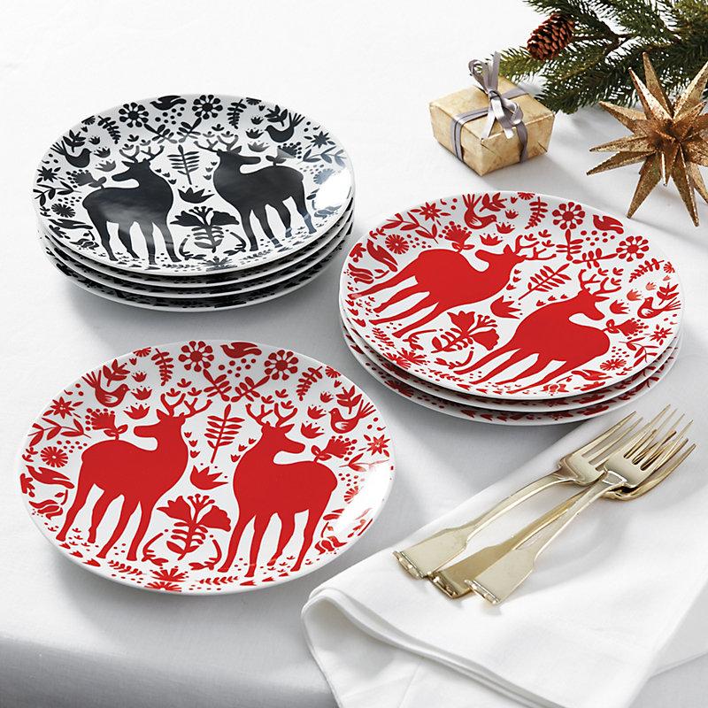 Set Of 4 Yuletide Accent Plates Black Ballard Designs Classic Dinnerware Christmas Dinnerware Plates