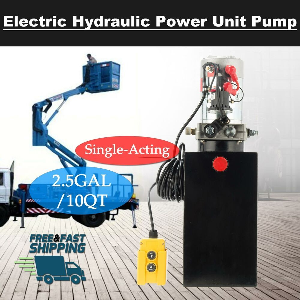 Ad Ebay 12 Volt Single Acting Hydraulic Pump 12v Dump Trailer 10 Quart Metal Reservoir Hydraulic Pump Dump Trailers Dump Truck Light