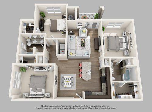3d Furnished Luxury Floor Plans Apartment Floor Plans Condo Floor Plans