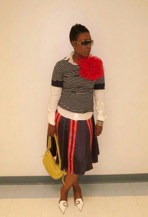 Stripes and Oversized Rosette