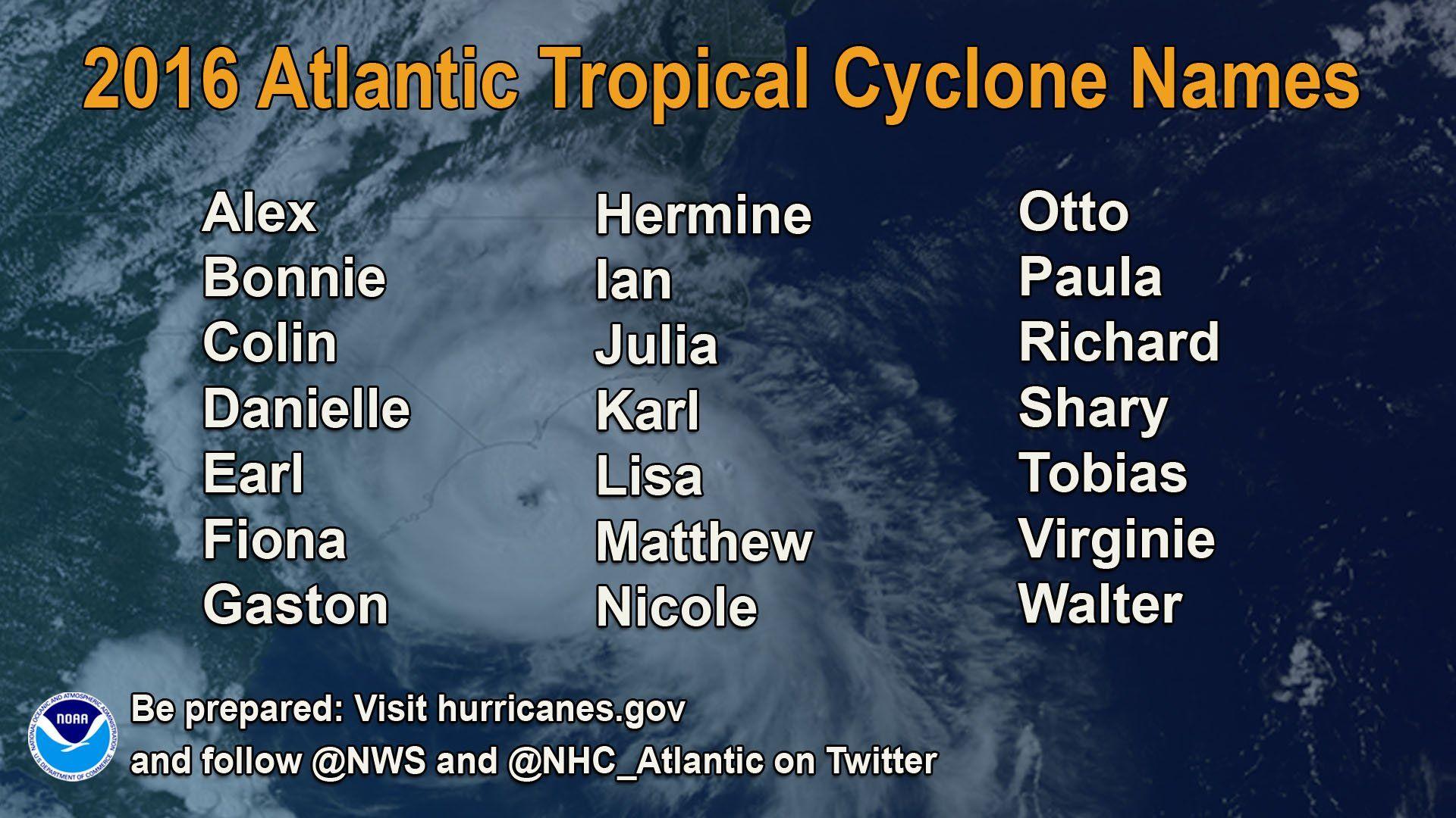 2016 Hurricane Names Bing Images Atlantic Hurricane Hurricane Names Hurricane