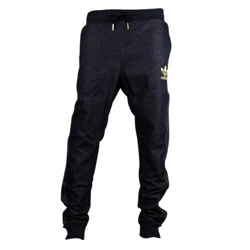 560cbb2a91ff1 Mens Adidas Originals Cuffed Denim Blue Jeans Tracksuit Bottoms ...