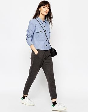 6dbd5eb3ac ASOS Chambray Shacket With Button Detail