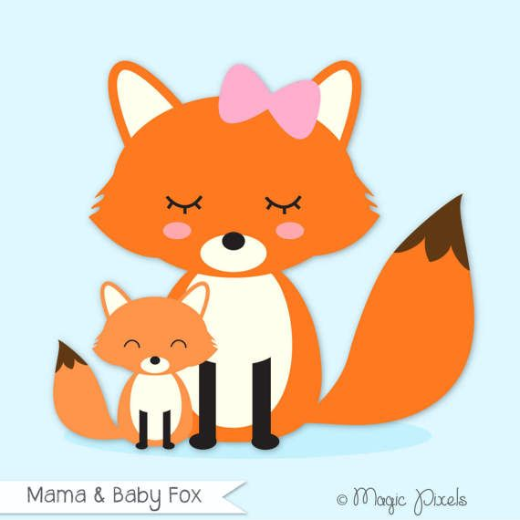 fox clip art mama and baby fox clipart forest animals clip art rh pinterest com baby forest animal clipart cute forest animal clipart