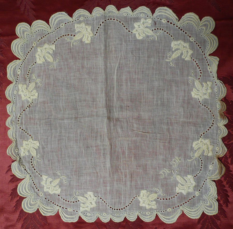 Handmade cotton hankie hand embroidered late s vintage