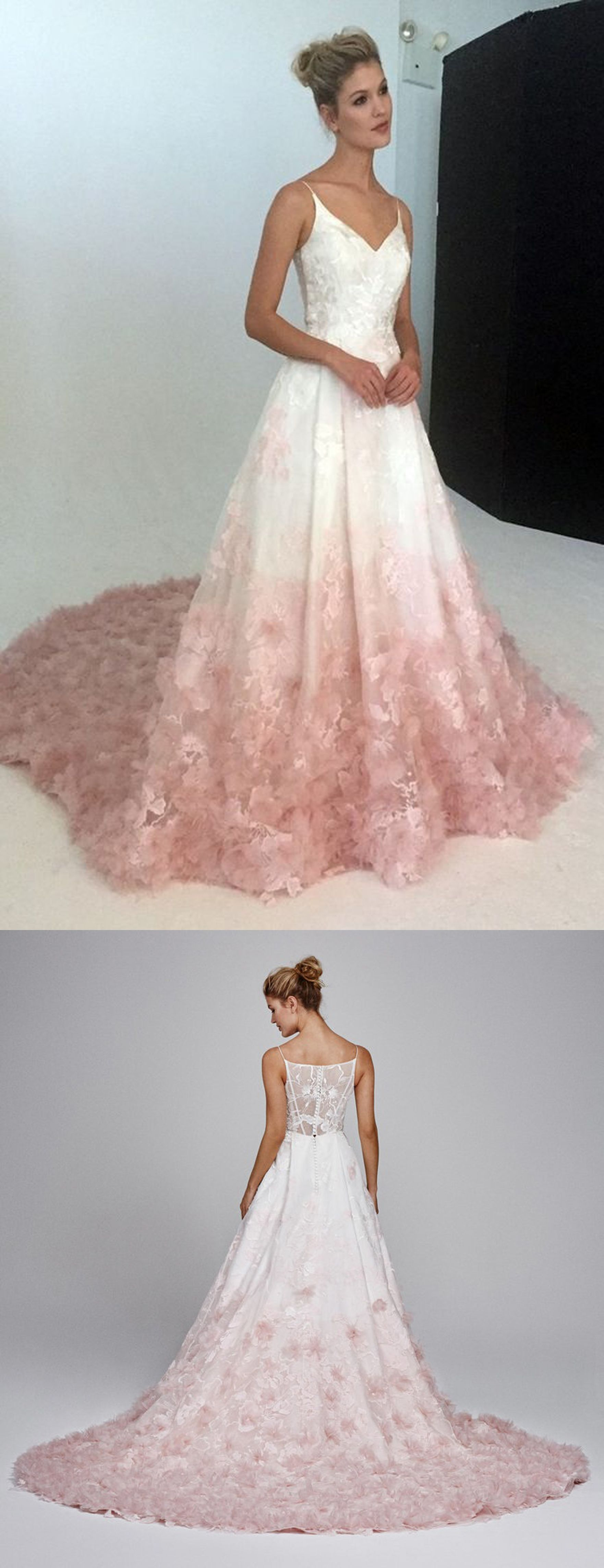 V-Neck Evening Dress,Silk Organza Formal Dress,Ball Gown with Floral ...
