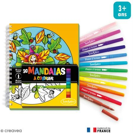 Kit para colorear Mandalas para niños -Cuaderno para colorear y rotuladores - Fotografía n°1