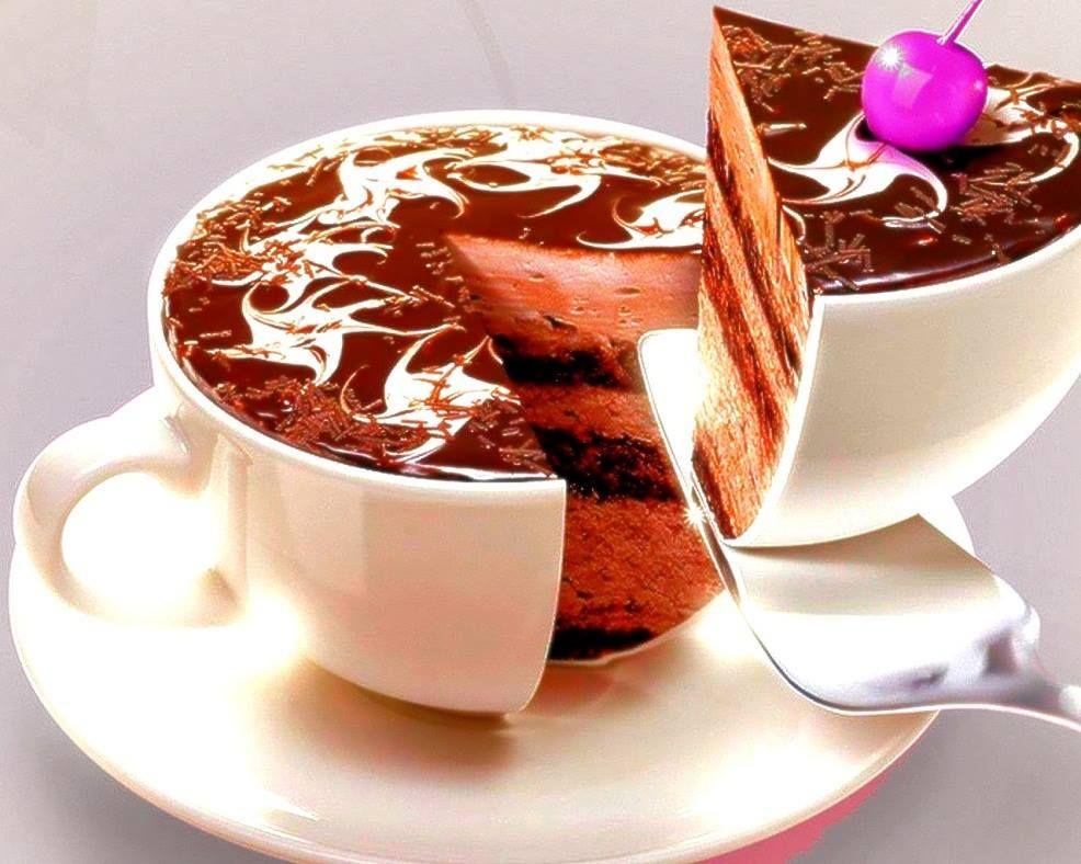Открытку, открытки кофе с тортом