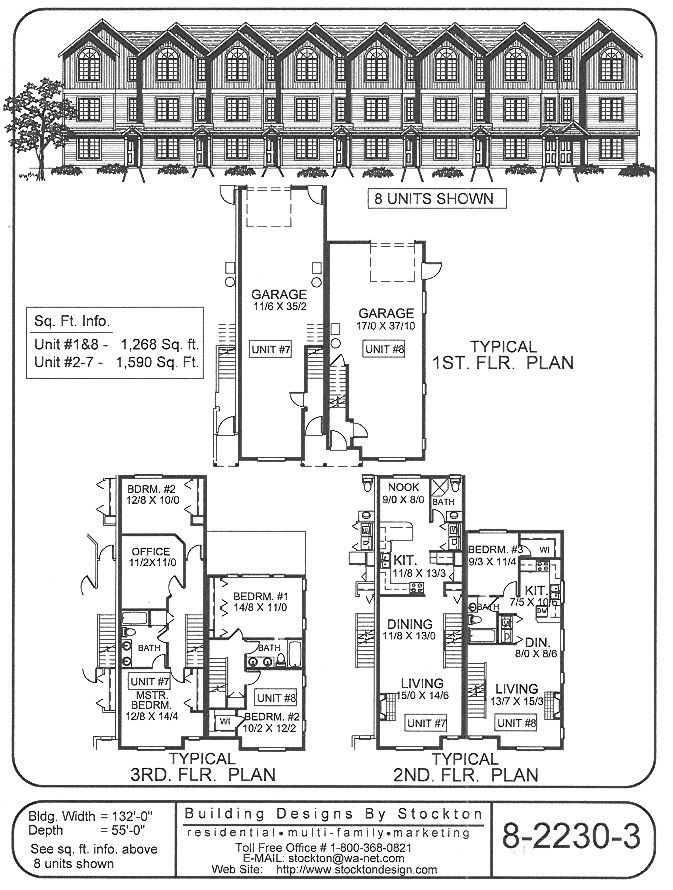 Building designs by stockton 15 39 narrow row house with for Narrow apartment plans