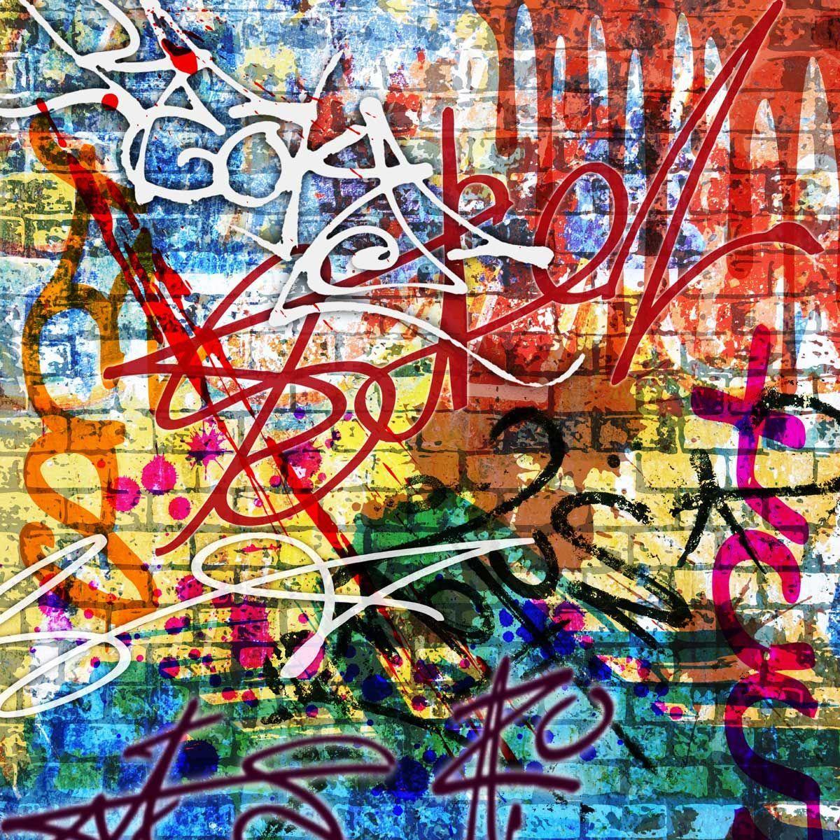 Brick Wall Graffiti Wallpaper Mural By Loveabode Com Wallpapermuralspillows Graffiti Wallpaper Mural Wallpaper Graffiti