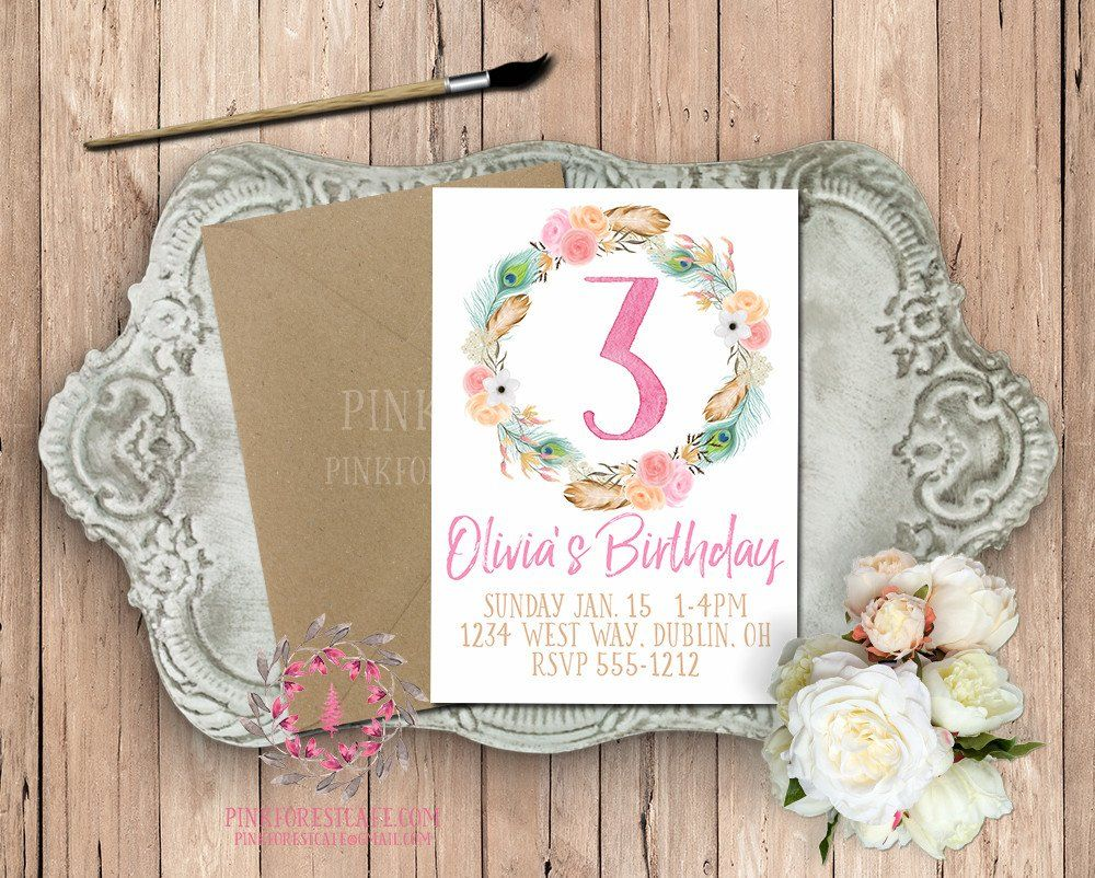 1st 2nd 3rd 4th 5th Watercolor Boho Floral Birthday Party Printable Invite Invitation