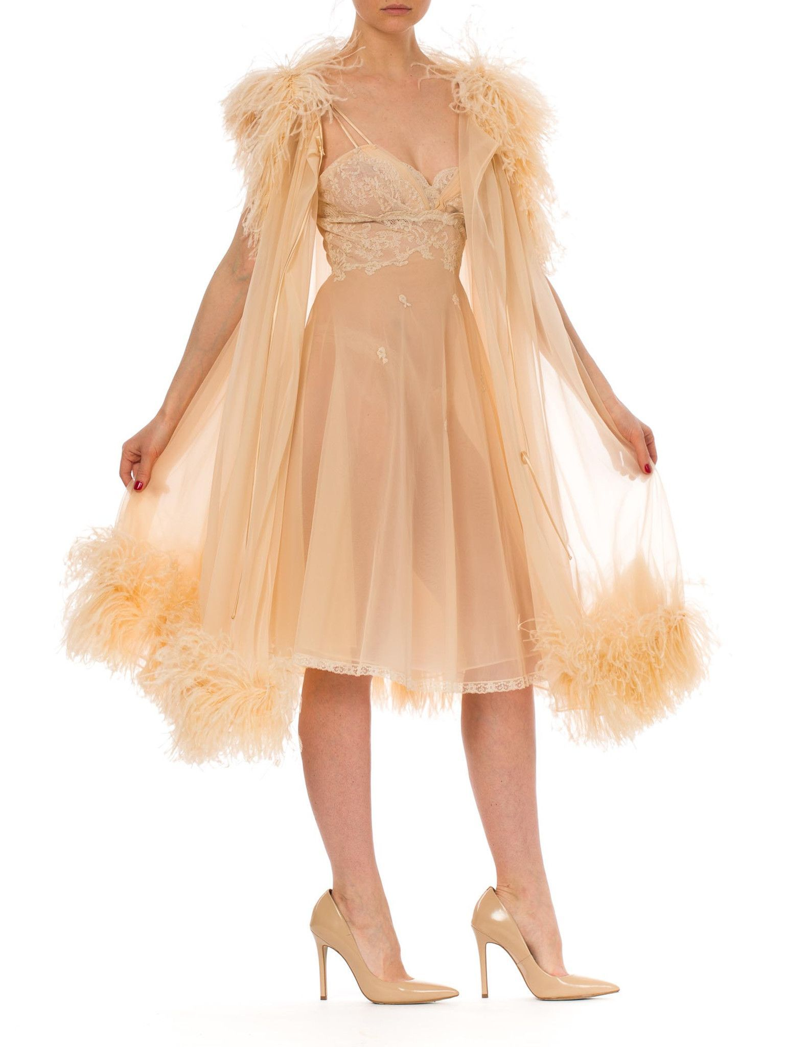 f38a831319 1950s Fabulous Sheer Chiffon Lingerie Set Ostrich Feather Robe and Lace  Detailed Mini Nightgown