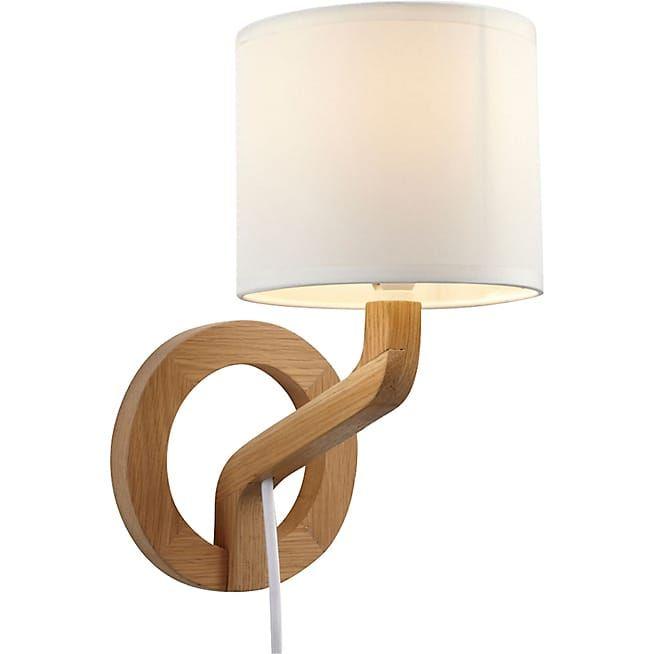 Applique scandinave en chêne et coton H29 cm - Mokuzai - Ameublement salon, séjour et bureau - meuble en chêne - Décoration intérieur - Alinéa