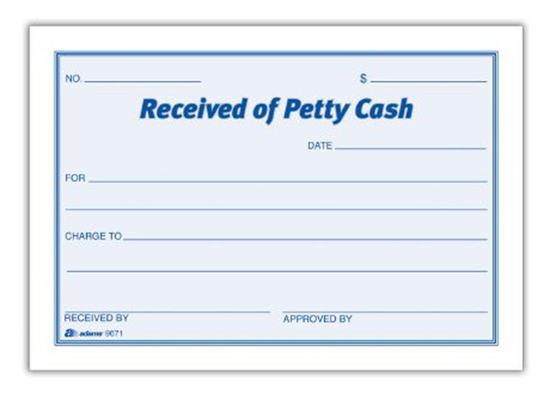Petty Cash Receipt Pad Set of 16 Accounting – Petty Cash Slips Template
