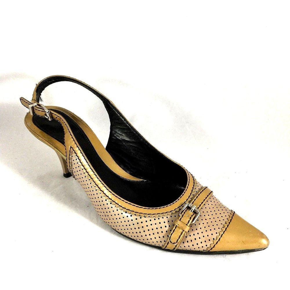 3c543fba38e Fendi Slingback Pump Perforated Leather Kitten Heel Pointed Toe 8.5 Antique  Gold  Fendi  PumpsClassics  Any