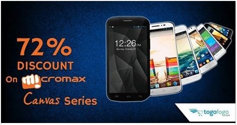 Get up to 72% Discount on #Micromax #Canvas Series. Lowest Price Guaranteed! #TogoFogo #OnlineShopping