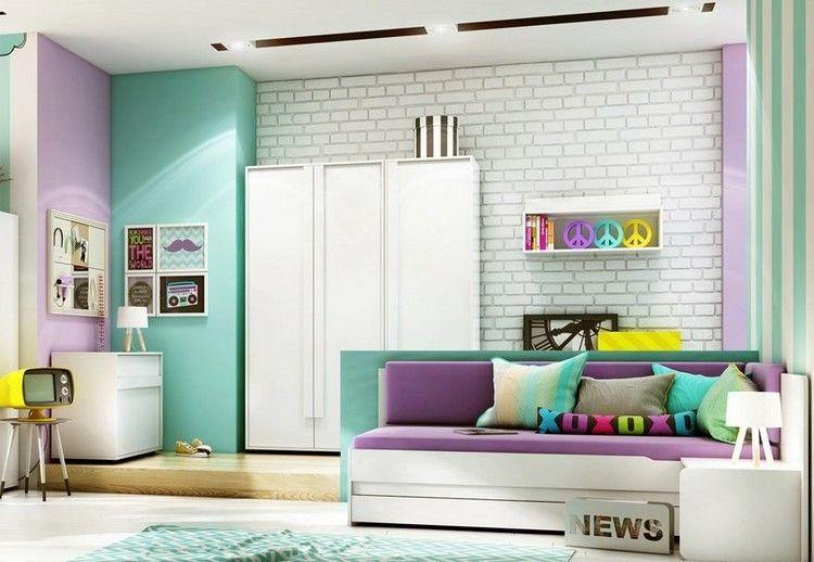 d co murale chambre enfant papier peint stickers peinture peinture turquoise brique. Black Bedroom Furniture Sets. Home Design Ideas