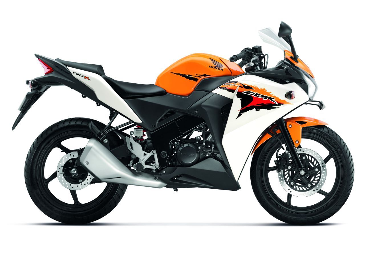 Honda Cbr150r Side View Orange White Honda Cbr Honda Bikes Cool Bikes