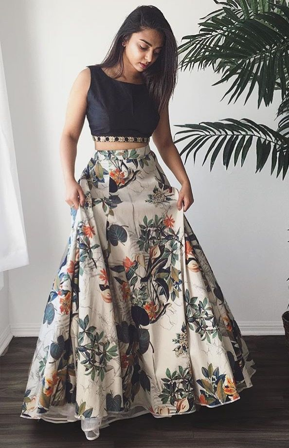 8674d32f3 Get the designer look with this flawless floral lehenga and crop top choli.  Lehenga Skirt Fabric : Dhupian (Stitched with side zip).