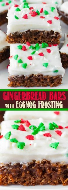 Soft and Chewy Gingerbread Bars with Eggnog Cream Cheese Frosting