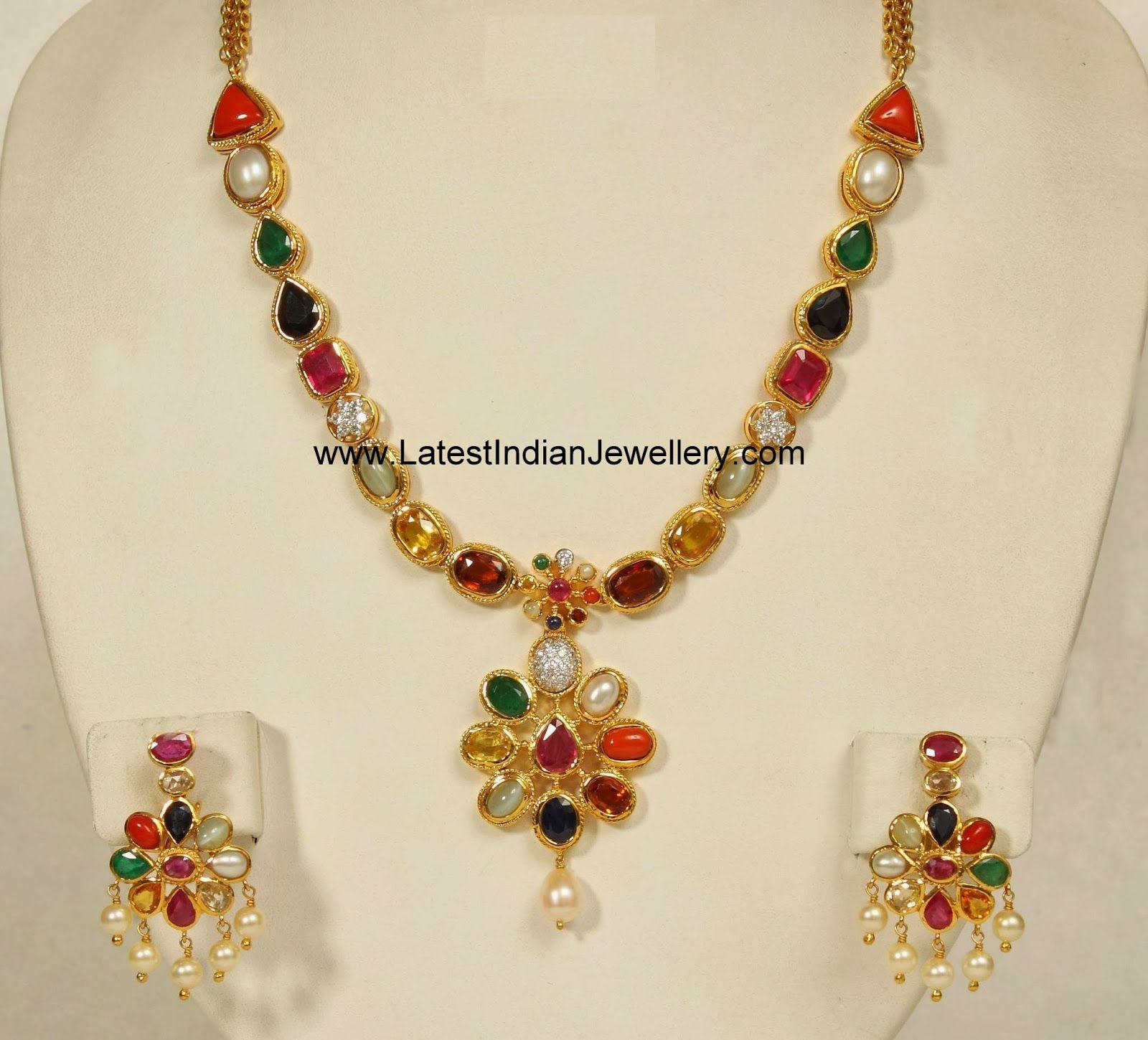 Designer Navartna Necklace Set | Designers, Indian gold jewelry ...