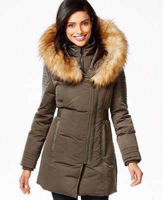 1285f4504bd6 1 Madison Expedition Faux-Fur-Trim Layered Asymmetrical Down Coat - Coats -  Women - Macy's