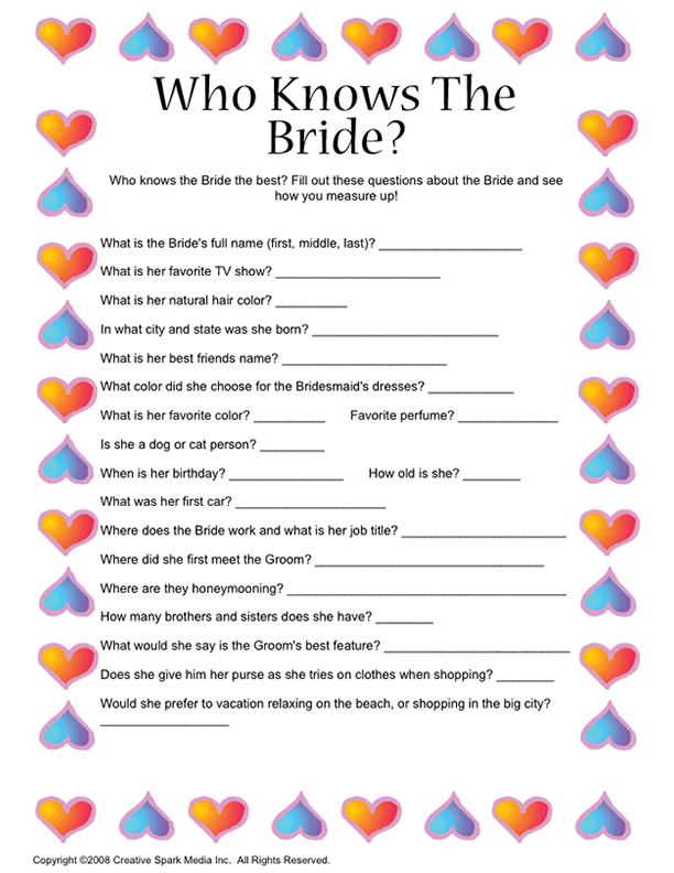 a similar game for guests as they wait for bridal party at the reception or a crossword puzzle