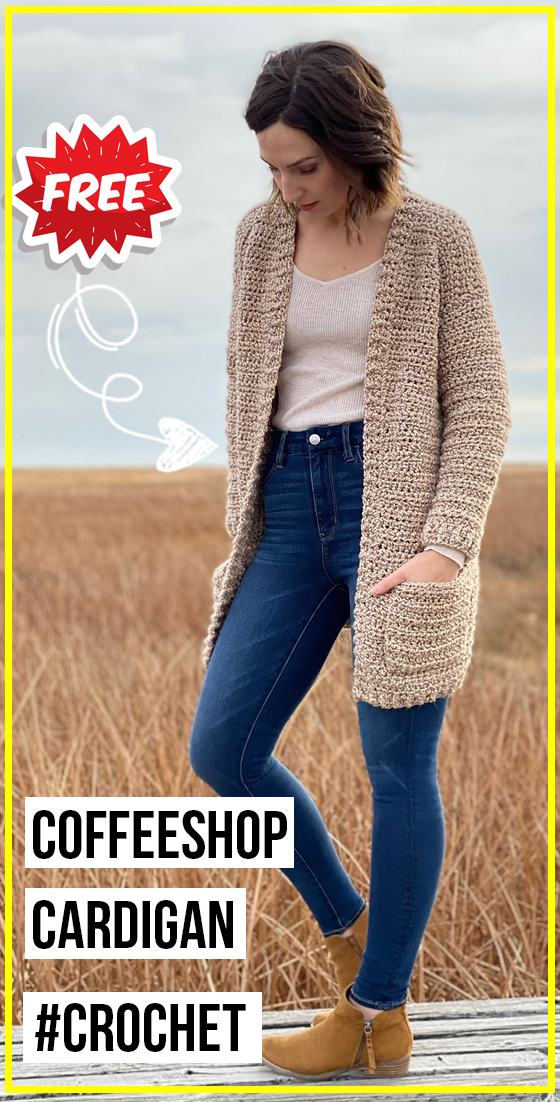 crochet The Coffeeshop Cardigan free pattern