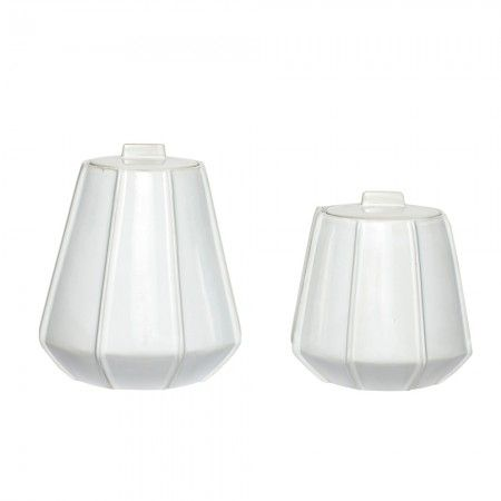 Set of 2 Ceramic Jars With Lids - Small Storage - Home Decoration - Home Accessories