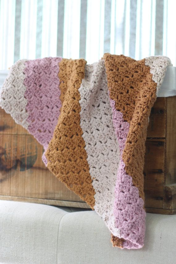 100% Cotton Neapolitan Baby Blanket/ Baby by RycesPiecesKnits