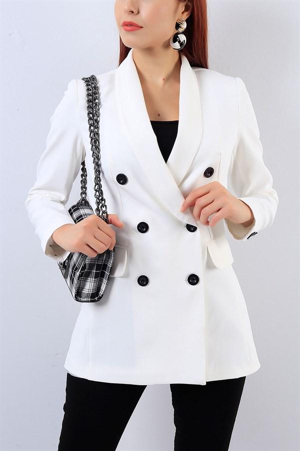 89 95 Tl Beyaz Kruvaze Bayan Ceket 18226b Modamizbir Moda Stilleri Moda Mankenler