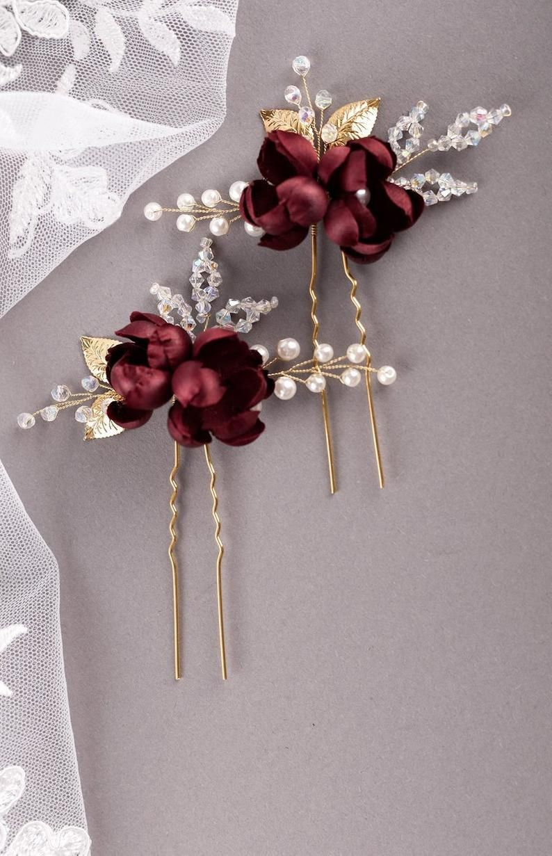 Burgundy silk flower hair pins Burgundy rosebud hair pin Burgundy Wedding Bridesmaid hair accessorie