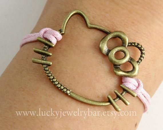 'Hello Kitty Bracelet, antique bronze bracelet, pink wax cords bracelet'
