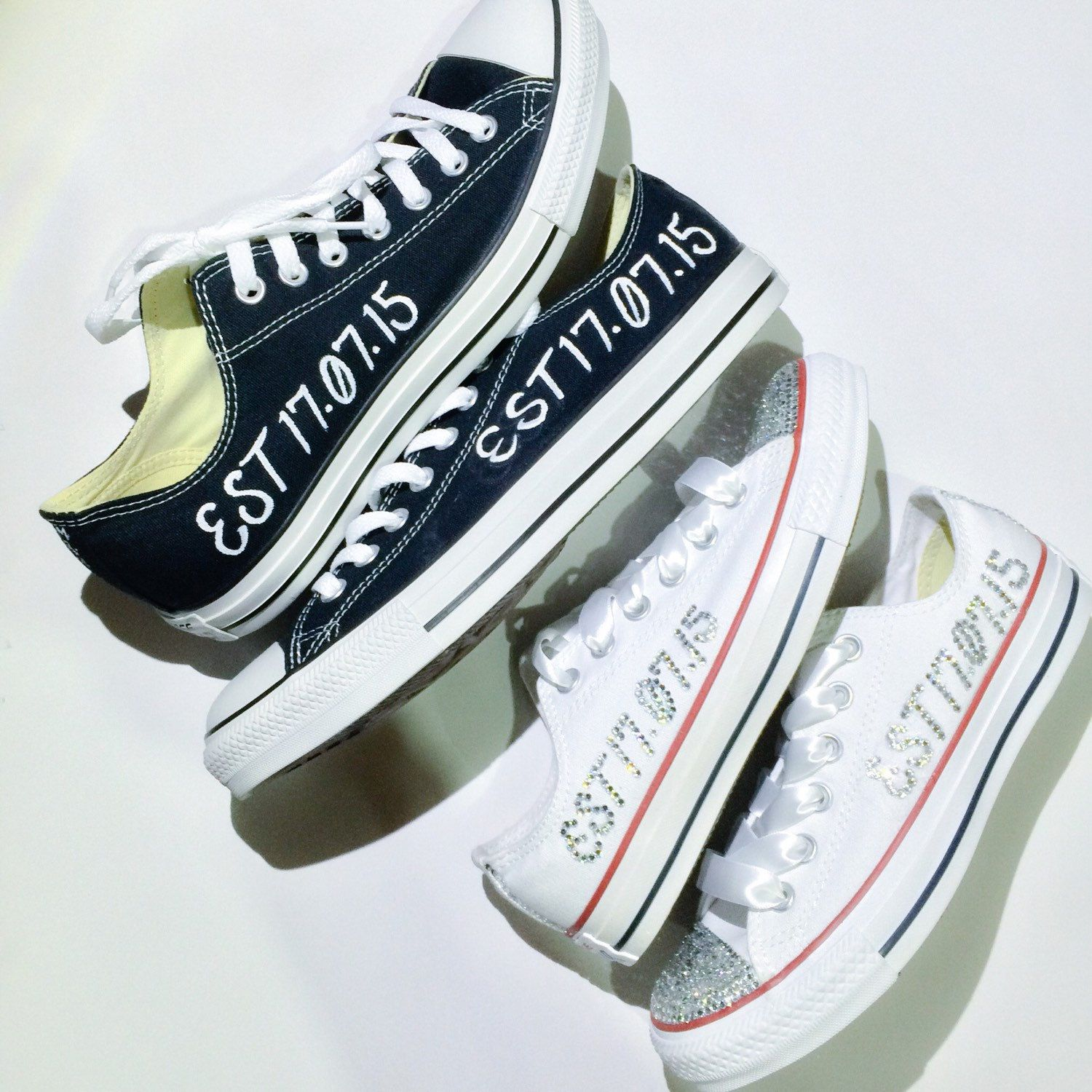 05c42d027fb Wedding Converse Bride and Groom Custom Painted Converse Shoes WITHOUT Mini  Veils by IntellexualDesign on Etsy